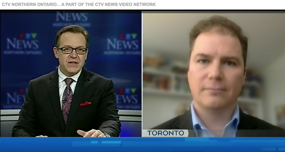 Screen grab of CTV's Tony Ryma interviewing Kris Stevens